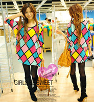 Wholesale Hot Womens Fashion Sweat Girl Colorful Grid Tops Blouse Blue Color