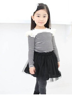 4-12Y 100,110,120,130,140 AS Picture Baby Clothes Set Lace Skirt Suit Girl's Long Sleeve Striped T-shirt+Tutu Skirt Set Wholesale 2073