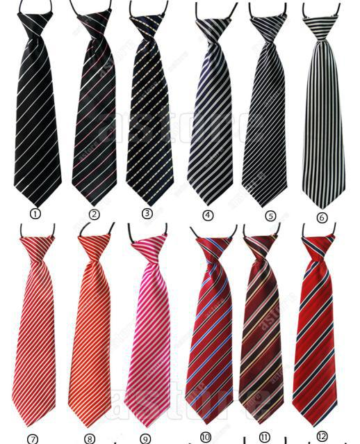 Wholesale 10 Pcs/lot + New School Boys Childrens Kids Clip On Elastic Tie Necktie Different Styles