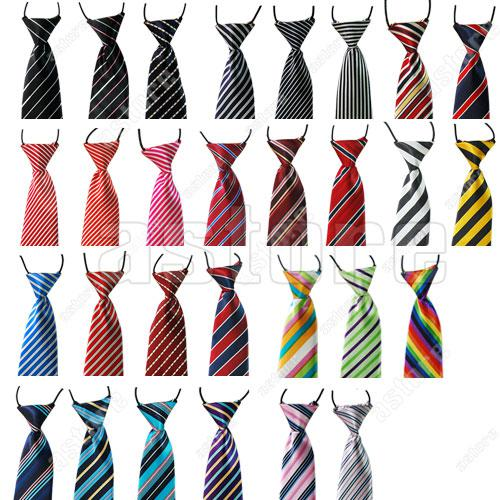 Wholesale 100 Pcs/lot + (29 styles in choice) Childrens Kids Clip On Elastic Tie Necktie Different Styles