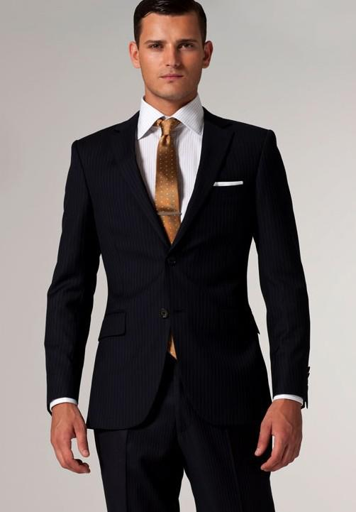 Suits Brand Men Suit Navy & White Pinstripe Suit Fashionable Suit ...