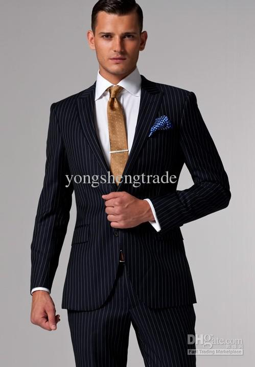 2017 Mens Suits Accept Custom Made Suits Navy & White Pinstripe ...