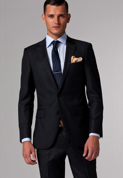 Suit Men Black & White Pinstripe Suits Custom Made Men Suit Brand ...