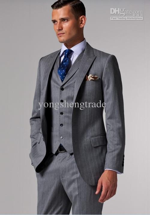 Brand Suits Accept Custom Made Suits Light Gray & Black Pinstripes ...