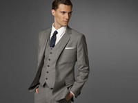 Wholesale Men Suit Light Gray Three piece Suit Accept Custom Made Suit Men Fashion Suit Accept