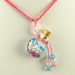 murano glass small wish bottle charm pendant necklaces empty vials necklaces for ashes vintage perfume bottle pendant necklaces