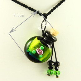 empty small glass vial necklace pendants aromatherapy pendants necklace wholesale supplier top quality lampwork glass with flower Mun007