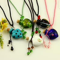 Wholesale Hollow murano glass heart pendant necklace jewelry perfume vial bottle pendants lampwork jewellery