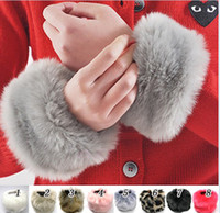 coated gloves - 1 pair Fashion lady winter faux fur Bracelet hand warmer coats Jackets Accessories sleeve Cuffs H056