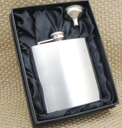 6 ounce stainless steel hip flask with funnle in black gift set,lead free