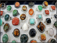 Wholesale Fashion Jewelry Vintage Ring Colorful Natural Stone Centre Rings Ancient Silver Gemstone Rings GM