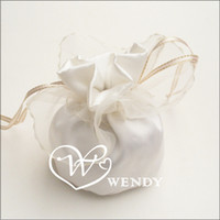 Wholesale 40pcs White Satin Wedding Candy Bags Box Wedding Gifts Packing wedding favors CB ST4