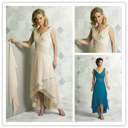 Wholesale 2012 High low Chiffon Mother Of The Bride Gowns Beadings V neck Mother Dresses HJGT