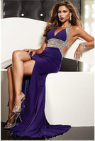 Wholesale 2012 Elegant Glam V Neck A Line Beaded Halter Prom Gown Chiffon Ruffle Rhinestone Evening Dresses
