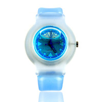 Fashion Unisex Digital Wholesale Round Shaped Watch Dial Plastic Cement Watchband Liquid-filled Wrist Watch