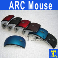 Wholesale USB Wireless mouse Arc Mouse Optical Foldable Ghz Laptop Mouse PC Mice Freeshipping