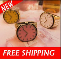 Band Rings South American Women's Fashion Small Finger Ring With Watch Clock Shape And Candy Color Rings Free Shipping