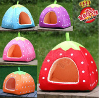 Beds yurts - Latest thickening Cute strawberry Nest multi function Yurts Dog House Pet kennel Cat Litter