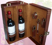 Wholesale Wine Bottle Opener stopper Accessory Gift Set in brown PU Leather gift box