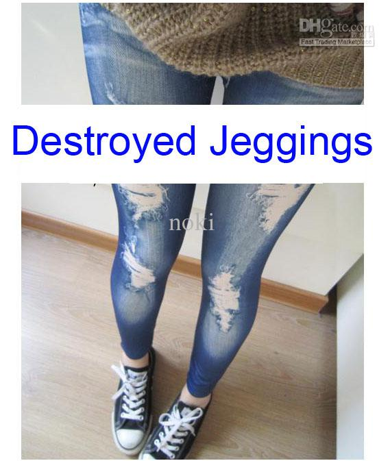 2017 Blue Destroyed Denim Skinny Jeans Jeggings Sexy Women's ...