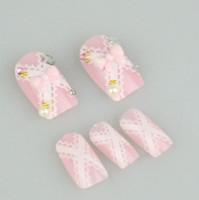 Full acrylic nails pink tips - 10boxs box D Acrylic Nail Art False Fake Nail Tips With Nail Glue Fashion Nail Style