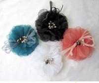 Wholesale Wedding Hair Pin Party Flower Brooches Headdress flower Gauze Fabric Flower Brooch with Diamonds