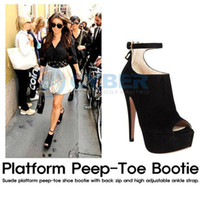 Wholesale Vogue Women Platform Pumps High Heels Ankle Boots Shoes Black Four Sizes For Selection HK Post