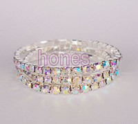 Wholesale CZ Stretchy Crystal Bracelet One Row Silver plated Crystal AB hotsale pieces JB3081