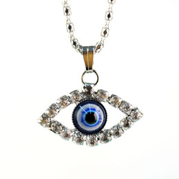 fashion necklace women silver crystal evil eye pendant with rhinestone inlay charms eye pendant necklace ,NL-1553