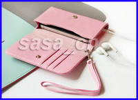 For Apple iPhone apple hand bag - Leather Bag for iPhone S Nokia N9 Wallet Style Mobile Phone Handbag with Hand Strap Card Holder
