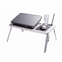 Plastic Black & White New Laptop Notebook Desk Laptop Fold Table With Cooling Fan Black & White Flexible portable N00093