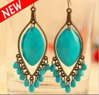 Wholesale Green Blue Turquoise Bead Tassel Chandelier Dangle Earring With Drop Gemstone Earrings