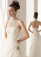 Custom Stunning High Neck Lace A- line Organza layered Ruffle...