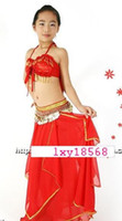 Girl Spring / Autumn 8-15 Beautiful Tribal Children Belly Dance Costume set Red color