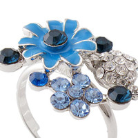 Wholesale KGP jewelry platinum plated three color option Austrian crystal flower ring