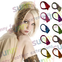 Wholesale 16 quot Leopard Print Heat Friend Synthetic Hair Extension Clip In Feather Extensions TPE005