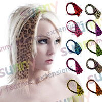 Wholesale 16 quot Leopard Print Heat Friend Synthetic Hair Extension Clip In Feather Extensions TPE006