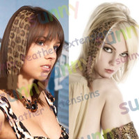 Wholesale 16 quot Animal Leopard Print Synthetic Hair Extension Clip In Feather Extensions TPE011