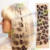 Wholesale 16 quot Animal Leopard Print Synthetic Hair Extension Clip In Feather Extensions TPE010