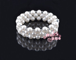 Fashion jewelry bracelets three rows of Surrounded adjustable diamond Crystal pearl bracelet For Wedding Bridal Bracelets 12PCS