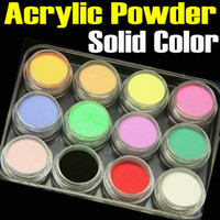 Wholesale 12 Mix Color Acrylic Powder Builder Dust D Nail Art Manicure Nail Tips Set FREE SHIP High Quality