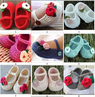 Wholesale Crochet baby girl shoes infant booties first walk shoes flower leaves pearl mix design M size pairs cotton yarn