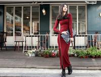 Round Ankle Length Sheath women full length skirt zipper dress long sleeve black wine red khaki one size AA401