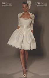 Wholesale 2012 dhgate hot sale A Line jacket tea length lace long sleeve winter wedding dresses WD09