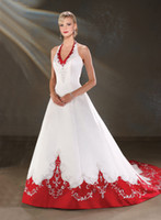 Wholesale Custom Made New Halter Red A Line Satin Embroidery Wedding Dress HS9972