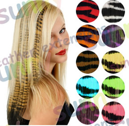 Wholesale 16 quot Animal Tiger Print Synthetic Hair Extension Clip In Feather Extensions TPE015