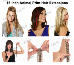 Wholesale 16 quot Animal Print Synthetic Feather Hair Extension Leopard Cheetah Zebra Feathers Extensions APE004