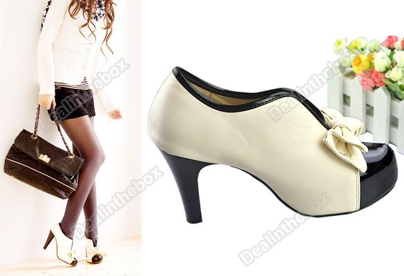 Hot Sale Sexy Lady Beige Bow Pump Platform Women High Heel Shoes