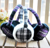 Wholesale Fashion Warm Ear muff Plush Ear Muffs Flannel Plaid Ear Covers Winter Essential Products Earcap