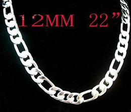 1PCS 925 Silver Figaro Chain Necklace 12mm 22inch